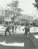 Students walking near Armstrong Hall at Mankato State University