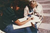 Drawing class on the mall c. 1985, Mankato State University