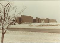 A winter picture of the Mankato State University Trafton Science Center, 1980s.