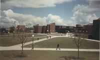 A picture of Mankato State University students walking around the Trafton Science Center, 1980s.