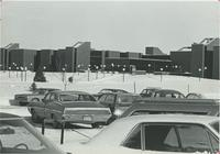 A picture of the Mankato State University Trafton Science Center taken from a university parking lot, 1970s.