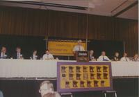 A man speaking in the Centennial Student Union Ballroom at Mankato State University, 1991-05-15.