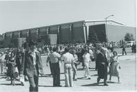 A picture of people gathered around the Mankato State University Otto Recreation Center and the Centennial Student Union for a commencement ceremony, 1976.