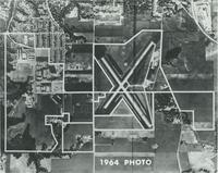 A picture illustrating the development of the Mankato State College campus, Mankato Airport, and the surrounding area, 1964.