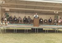 Margaret Preska giving a speech at the Wissink Hall groundbreaking at Mankato State University.