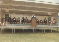 Margaret Preska giving a speech at the Wissink Hall groundbreaking at Mankato State University