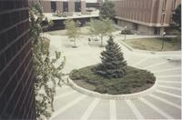 A picture taken from the Mankato State University Memorial Library of a student walking on the Campus Mall next to Armstrong Hall, 1980s.