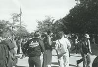 Students walking outside by Armstrong Hall at Mankato State University