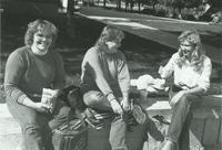 Students sitting outside of Armstrong Hall at Mankato State University