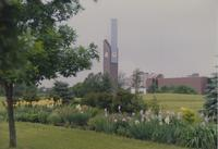 Ostrander Student Memorial Bell Tower and Trafton Center at Mankato State University, 1989-06-12.