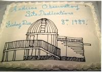 Andreas Observatory Site Dedication ceremony cake at Mankato State University December 8, 1989.