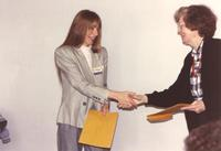 Mary Dooley (right) and Christine Rosentein (left) at Mankato State University, 1990-05-17.