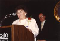 Vivian Borak giving a brief speech at Mankato State University, 1990-05-31.