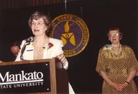 Mary Dooley (left) and College President Margaret Preska (right) at Mankato State University, 1990-05-31.