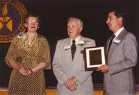 College President Margaret Preska (left), Mr. Jones (center) and Gerald Stiles (right) at Mankato State University, 1990-05-31.