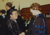 Mankato State University President, Dr. Margaret Preska, in a Graduation Ceremony at Mankato State University. 06-07-1991.
