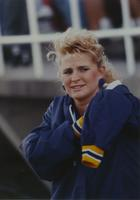 A cheerleader at the Maverick versus Bison football game at Mankato State University, 1990-09-15.