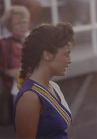 Side profile of a cheerleader at Mankato State University, 1990-09-15.