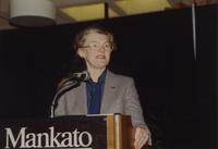 College president Margaret Preska speaks at the Nursing Award Dinner at Mankato State University, 1991-05-18.