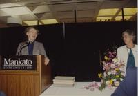 College president Margaret Preska and nursing staff at Mankato State University, 1991-05-18.