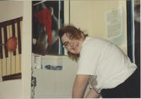Stephanie Poe in McElroy dorm room I-3, at Mankato State University.