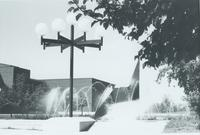 A picture of the Mankato State University Centennial Student Union and university fountain taken from the Campus Mall, 1980s.