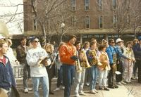 College band students during Homecoming week at Mankato State University, 1989-10-12.