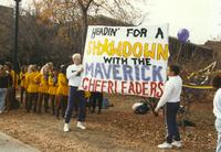 Male Cheerleaders and MSU dance line at Mankato State University for Homecoming Week, 1989-10-20.