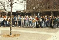 Band students enjoying Homecoming Week at Mankato State University, 1989-10-20.
