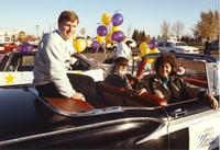 Grand Marshall Steve Carroll at the Homecoming Parade for Mankato State University, 1989-10-20.