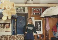 Lisa Sandgren in her dorm room, at Mankato State University.
