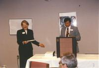 College President, Dr. Margaret R. Preska and male staff at Mankato State University, 1990-06-08.