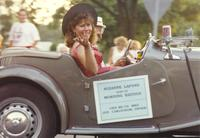 Suzanne Lafond at the Bend of the River Parade near Mankato State University, 1990-07-07.