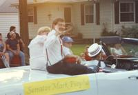 Senator Mark Piepho at the parade near Mankato State University, 1990-07-07.