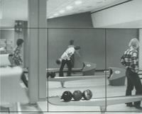 A picture of Mankato State University students bowling in the Centennial Student Union bowling alley, 1975.
