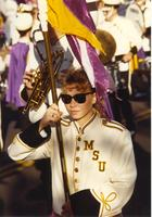 Female marching band student at Mankato State University, 1989-10-20.