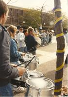Band students near the Campus Mall at Mankato State University, 1989-10-20.