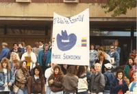 Students in the Spanish club engages in Homecoming at Mankato State University, 1989-10-20.