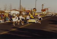 Cheerleaders at the Homecoming parade, Mankato State University, 1989-10-20.