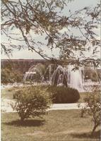 Mankato State University Fountain, Campus Mall and Armstrong Hall, 1980s.