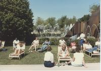 Students sitting near the fountain at Mankato State University
