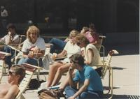 Students relaxing outside of the Centennial Student Union at Mankato State University.
