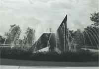 A picture of the Mankato State University Fountain and Chthonic Sculpture, 1980s.