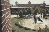 A picture of the Mankato State University Centennial Student Union and campus fountain, 1980s.