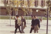 Students walking by Armstrong Hall at Mankato State College