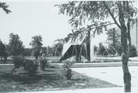 A picture of the Mankato State University Memorial Library and fountain taken from the Campus Mall, 1980s.