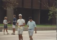 Students walking by Armstrong Hall at Mankato State University