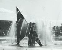 A picture of the Mankato State University fountain, campus mall and Armstrong and Morris Hall academic buildings, 1980s.