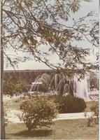 A picture of the Mankato State University Armstrong Hall academic building and campus fountain, 1980s.