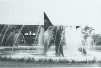A picture of the Mankato State University fountain, Campus Mall and Armstrong Hall academic building, 1980s.